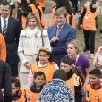Le roi Willem-Alexander et la reine Maxima des Pays-Bas lors des King Games 2017 à Veghel le 21 avril 2017.  King Willem-Alexander and Queen Maxima at elementary school De Fivemaster during the annual Royal Games in Veghel on april 21, 201721/04/2017 - Veghel