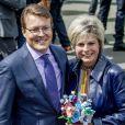 Le prince Constantijn et la princesse Laurentien lors des célébrations publiques du 50e anniversaire du roi Willem-Alexander des Pays-Bas le 27 avril 2017 à Tilburg, dans le sud du pays.