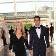 Exclusif - Angel Di María et sa femme Jorgelina Cardoso - Dîner de gala au profit de la Fondation PSG au Parc des Princes à Paris le 16 mai 2017.