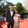 Exclusif - Thomas Meunier et sa compagne Deborah Panzokou - Dîner de gala au profit de la Fondation PSG au Parc des Princes à Paris le 16 mai 2017.