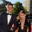 Exclusif - Marquinhos et sa compagne Carol Cabrino - Dîner de gala au profit de la Fondation PSG au Parc des Princes à Paris le 16 mai 2017.