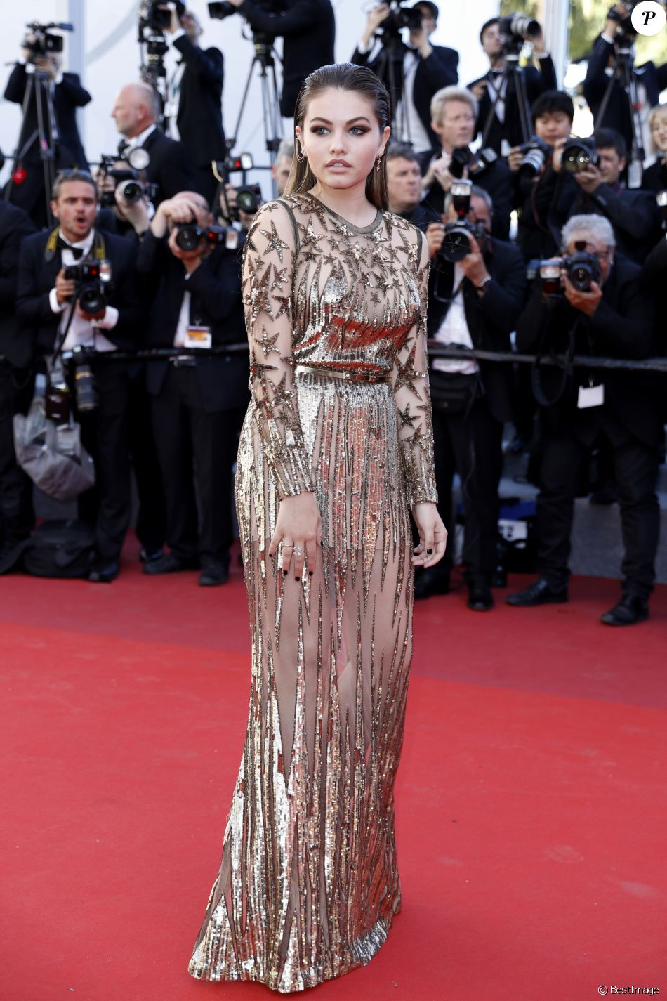 "Thylane Blondeau (robe Elie Saab) - Montée des marches du film ""Okja""lors du 70e Festival International du Film de Cannes. Le 19 mai 2017. © Borde-Jacovides-Moreau/Bestimage"