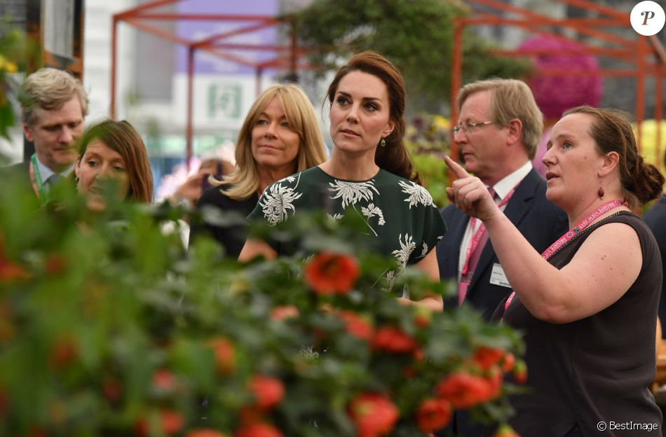 La duchesse Catherine de Cambridge prenait part le 22 mai 2017 à l'inauguration du Chelsea Flower Show au Royal Hospital Chelsea.