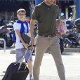 Pep Guardiola arrive à Barcelone avec sa femme Cristina et ses enfants, Maria, Marius et Valentina le 1er juin 2014. P