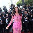 """Jade Foret dans sa robe rose transparente - Montée des marches du film """"Les proies"""" lors du 70ème Festival International du Film de Cannes. Le 24 mai 2017. © Borde-Jacovides-Moreau / Bestimage"""