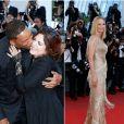Will Smith et Agnès Jaoui / Uma Thurman (robe Atelier Versace) - Montée des marches de la cérémonie de clôture du 70ème Festival International du Film de Cannes. Le 28 mai 2017. © Borde-Jacovides-Moreau/Bestimage (photomontage)