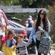 Exclusif - Megan Fox et son mari Brian Austin Green sont allés déjeuner avec leurs enfants Noah, Journey et Bodhi au restaurant Nobu à Malibu, le 22 mai 2017