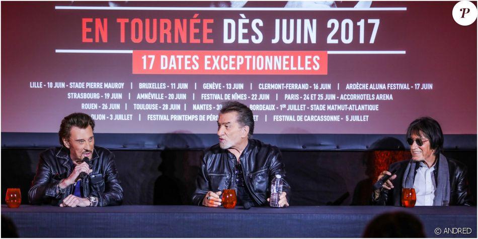 Johnny Hallyday, Eddy Mitchell et Jacques Dutronc en conférence de presse pour leur tournée des Vieilles Canailles le 6 juin 2017 à Boulogne-Billancourt.