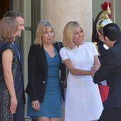 Brigitte Macron tout de blanc vêtue, vers une nouvelle victoire d'Emmanuel