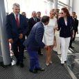 """La première dame Brigitte Macron (Trogneux) et la princesse Lalla Salma du Maroc visitent l'exposition """"Face à Picasso"""" au Musée Mohammed VI d'art moderne et contemporain de Rabat, Maroc, le 14 juin 2017. © Sébastien Valiela / Bestimage"""