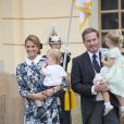 La princesse Madeleine de Suède, Chris O'Neill et leurs enfants le prince Nicolas et la princesse Leonore - Baptême du prince Alexander de Suède au palais Drottningholm à Stockholm. Le 9 septembre 2016