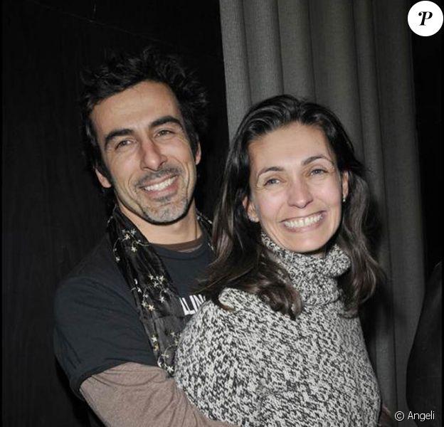 Adeline Blondieau et son fiancé Laurent à la présentation de la pièce Madame Butterlight au théâtre de la Gaîté Montparnasse. 28/01/09