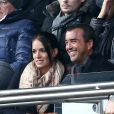 Arnaud Lagardère et sa femme Jade Foret au match de de la ligue 1 entre le PSG et Evian au Parc des Princes à Paris le 18 janvier 2015.