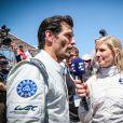Alexander Wurz et la présentatrice eurosport Liz Halliday lors des 24h du Mans, France, le 17 juin 2017. © V'Images/Bestimage