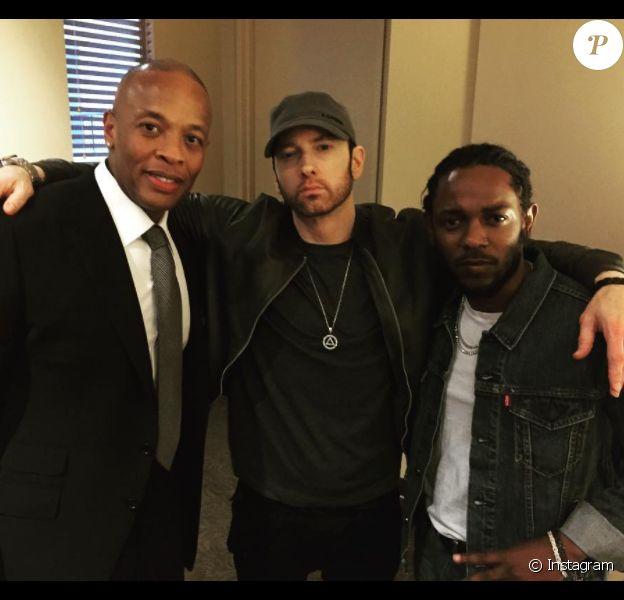 Eminem (Marshall Mathers III) entouré de Dr. Dre et Kendrick Lamar le 22 juin 2017 à Los Angeles lors de l'avant-première du documentaire HBO The Defiant Ones. Photo Instagram Eminem.