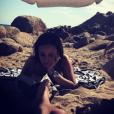 Alizée à la plage à Ajaccio avec Grégoire Lyonnet, le 11 juillet 2017.