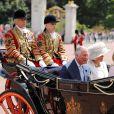 Le prince Charles et Camilla Parker Bowles, duchesse de Cornouailles - Le couple royal d'Espagne reçu au palais de Buckingham par la famille royale d'Angleterre à Londres. Le 12 juillet 2017  Prince Charles and the Duchess of Cornwall in the State Carriage at Buckingham Palace, London during King Felipe VI's State Visit to the UK.12/07/2017 - Londres