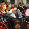 La reine Letizia d'Espagne et le prince Philip, duc d'Edimbourg - Le couple royal d'Espagne reçu au palais de Buckingham par la famille royale d'Angleterre à Londres. Le 12 juillet 2017  The Duke of Edinburgh and Queen Letizia of Spain arrive in the State Carriage at Buckingham Palace, London during King Felipe VI's State Visit to the UK.12/07/2017 - Londres