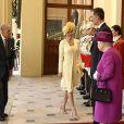 Le prince Philip, duc d'Edimbourg, la reine Letizia et le roi Felipe VI d'Espagne, la reine Elisabeth II d'Angleterre - Le couple royal d'Espagne reçu au palais de Buckingham par la famille royale d'Angleterre à Londres. Le 12 juillet 2017  Reception ceremony on occasion for their official visit to United Kingdom in London on Wednesday 12 July 2017. On the first day of their 3 day tour of United Kingdom12/07/2017 - Londres