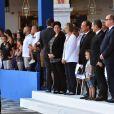 Frédérique Vidal, François Nyssen, François Hollande, Nicolas Sarkozy et le prince Albert II de Monaco lors de la cérémonie d'hommage aux victimes de l'attentat du 14 juillet 2016 à Nice, le 14 juillet 2017. © Bruno Bébert/Bestimage