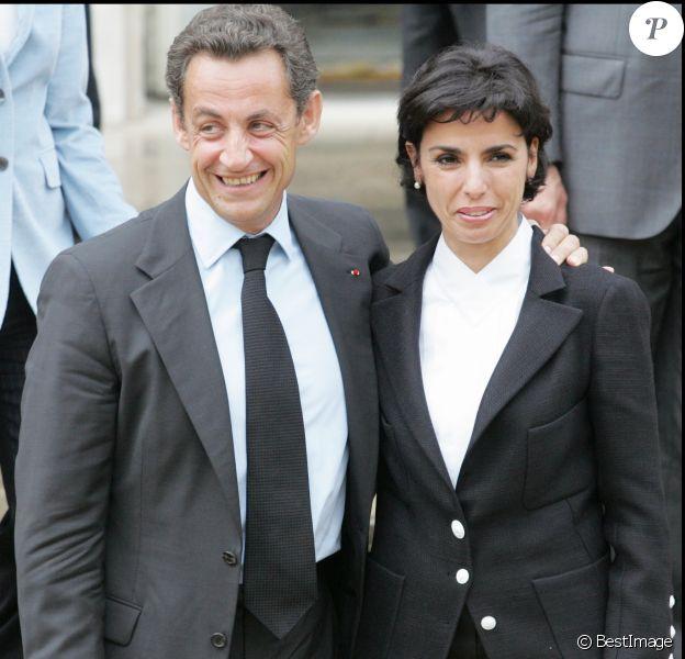 Nicolas Sarkozy et Rachida Dati - Présentation du gouvernement à l'Élysée, le 18 mai 2007