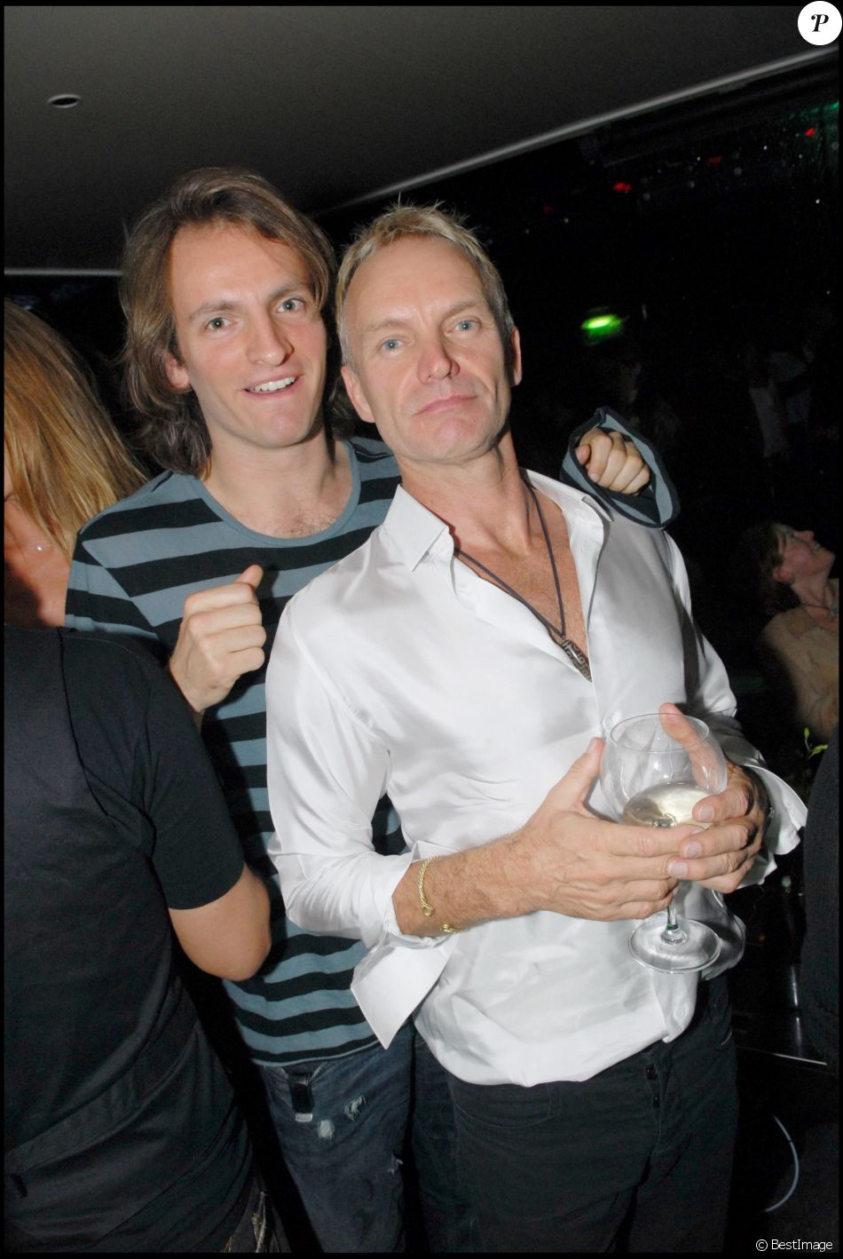 Exclusif - Le chanteur Sting et son fils Joe Sumner - After show du groupe Police au VIP Room le 29 septembre 2007.
