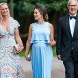La princesse Sofia de Suède, enceinte de près de huit mois, prenait part le 2 août 2017 à un dîner de gala dans les Jardins Norrviken à Bastad à la suite d'une conférence sur le développement durable, Sustainable Tomorrow.