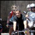 Nicolas Sarkozy et son fils Jean font du vélo autour du Cap Nègre en août 2010. Dominique Jacovides - Bestimage
