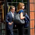 """Exclusif - Carla Bruni-Sarkozy et son mari l'ancien président Nicolas Sarkozy quittent un hôtel de New York le 14 juin 2017. Carla a chanté la veille des extraits de son nouvel album """"French Touch"""" dans le club """"Le Poisson rouge"""" dans le quartier de Greenwich."""