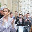 Céline Dion à la sortie de l'hôtel Royal Monceau, à Paris, France, le 10 août 2017.
