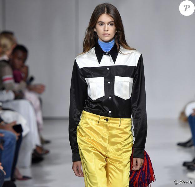 Kaia Gerber sur le podium du défilé Calvin Klein lors de la Fashion Week de New-York ce jeudi 7 septembre 2017. Photo Jonas Gustavsson/ABACAPRESS.COM