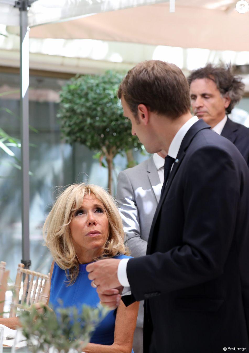 Emmanuel Macron et sa femme Brigitte Macron (Trogneux) - Allocution du président de la République française lors d'une réception offerte par la France en l'honneur de la communauté française. Le 8 septembre 2017 © Dominique Jacovides / Bestimage