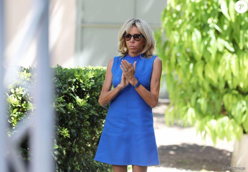 Brigitte Macron (Trogneux) - Allocution du président de la République française lors d'une réception offerte par la France en l'honneur de la communauté française. Le 8 septembre 2017 © Dominique Jacovides / Bestimage