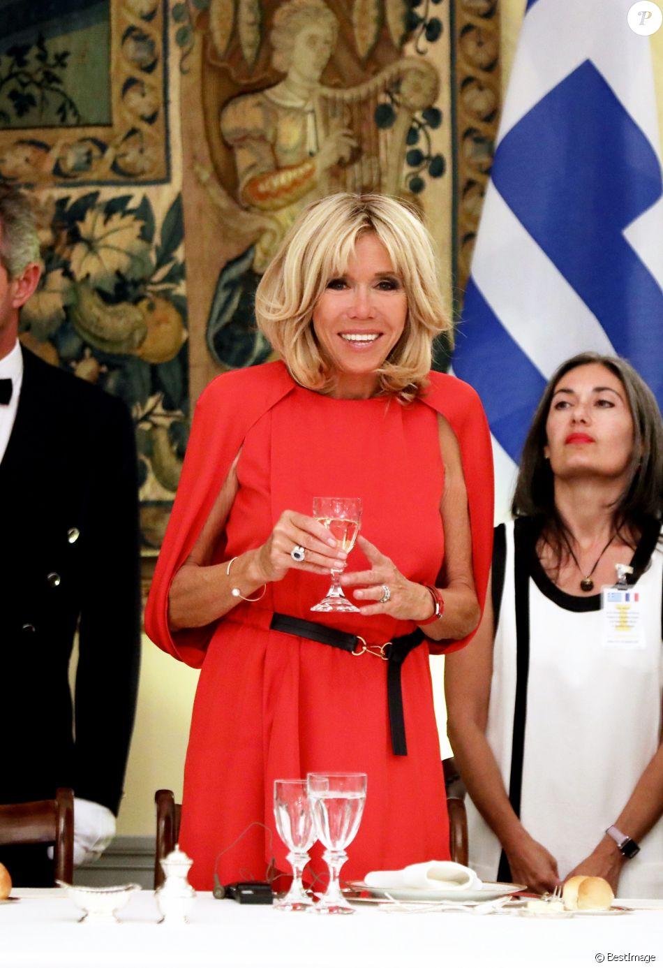 La Première Dame Brigitte Macron (Trogneux) - Dîner d'Etat en l'honneur du président de la République française et sa femme la Première Dame au Palais présidentiel d'Athènes, Grèce, le 7 septembre 2017. © Dominique Jacovides/Bestimage