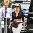 Kim Kardashian (les cheveux blond cendré) est allée déjeuner au restaurant Serafina avec sa mère K. Jenner pendant la Fashion Week à New York, le 8 septembre 2017.