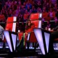 """Jenifer, stylée dans """"The Voice Kids 4"""" sur TF1 le 16 septembre 2017. Ici avec les autres coachs."""