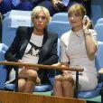 Brigitte Macron assiste au discours de son mari , le président de la république, devant la 72ème assemblée générale de l'organisation des Nations Unies à New York le 19 septembre 2017.