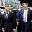 Le Président de la république française Emmanuel Macron va à la rencontre du coordinateur du haut comité des forces révolutionnaires et de l'opposition syrienne lors de la 72ème assemblée générale de l'organisation des Nations-Unis (ONU), à New-York City, New York, Etats-Unis, le 18 septembre 2017. © Stéphane Lemouton/Bestimage