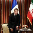 Le Président de la république française Emmanuel Macron rencontre le président de la République islamique d'Iran Hassan Rohani à l'hôtel Millennium lors de la 72ème assemblée générale de l'organisation des Nations-Unis (ONU) à New-York City, New York, Etats-Unis, le 18 septembre 2017. © Stephane Lemouton/Bestimage