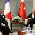 Jean-Yves Le Drian - Le président Emmanuel Macron rencontre le président de la Turquie Recep Tayyip Erdogan en marge de la 72ème assemblée générale de l'organisation des Nations-Unies à New York le 19 septembre 2017. © Stéphane Lemouton / Bestimage
