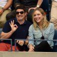 Jason Biggs et sa femme Jenny Mollen - Célébrités lors de la demi finale de tennis de l' US open 2016 à New York le 9 septembre 2016.