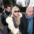 """Exclusif - Michel Fugain et sa femme Sanda arrivant à l'enregistrement de l'émission """"Vivement Dimanche"""" au pavillon Gabriel à Paris, le 25 février 2015."""