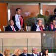 Vadim Vasilyev, le prince Albert II de Monaco et son neveu Pierre Casiraghi lors du match de Ligue des Champions entre l'AS Monaco et FC Porto au Stade Louis II à Monaco, le 26 septembre 2017. © Bruno Bebert/Bestimage