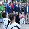 La princesse Charlene, le prince Albert II de Monaco et leurs enfants la princesse Gabriella et le prince Jacques durant le traditionnel pique-nique des Monégasques au parc Princesse Antoinette à Monaco le 1er septembre 2017. © Claudia Albuquerque/Bestimage