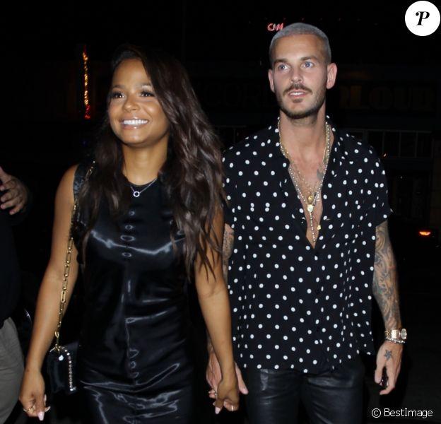 """M. Pokora et sa chérie Christina Milian fêtent leurs anniversaires respectifs avec leurs amis au restaurant """"Beauty & Essex"""" à Los Angeles le 26 septembre 2017."""