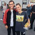René-Charles, le fils de Céline Dion, pose avec Miley Cyrus à Las Vegas. Mai 2017