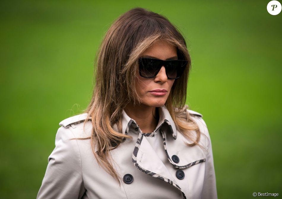 Le président Donald Trump et sa femme Melania arrivent à la Maison Blanche après leur voyage à Beltsville le 13 octobre 2017.