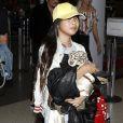 Semi-exclusif - Johnny Hallyday à quitté Los Angeles pour Paris avec sa femme Laeticia, ses filles Jade et Joy, son manager Sébastien Farran, Elyette la grand-mère de sa femme et sa chienne Cheyenne le 29 mai 2017.