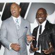 """""""Ludacris, Dwayne Johnson, Tyrese Gibson lors de l'avant-première du film """"Fast and Furious 7"""" à Hollywood, le 1 avril 2015."""""""