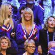 Isabelle Camus, Joalukas Noah ( femme et fils de Yannick Noah ) - 1er match de la Finale de la coupe Davis opposant la France à la Belgique remporté par Goffin (7-5, 6-3, 6-1) au Stade Pierre Mauroy à Lille , le 24 novembre 2017. © Perusseau - Ramsamy / Bestimage